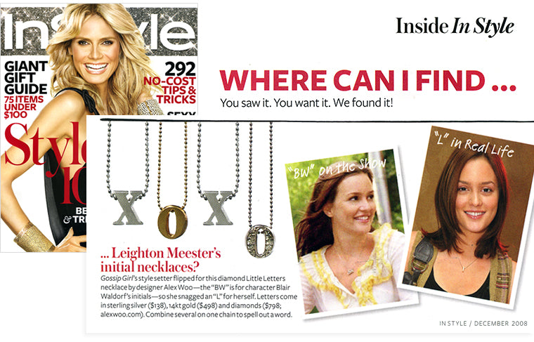 Leighton Meester wearing Alex Woo Little Letters in InStyle Magazine