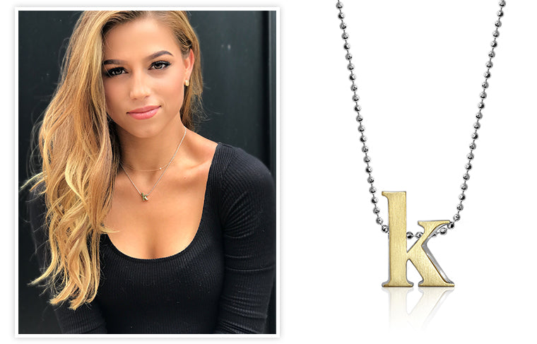 Bachelor contestant Kristina Schulman wearing Alex Woo Little Letter K in two-tone 18kt Yellow Gold and Sterling Silver