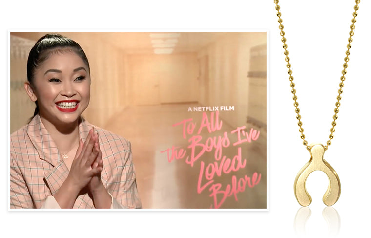 Netflix Film 'To All the Boys I've Loved Before' Actress Lana Condor wearing Alex Woo Little Luck Wishbone in 14K Yellow Gold