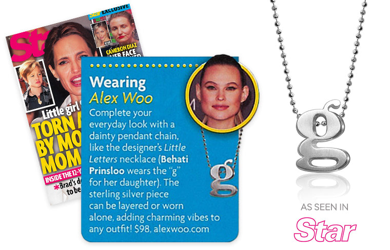 Behati Prinsloo wearing Alex Woo Little Letter G in Star Magazine