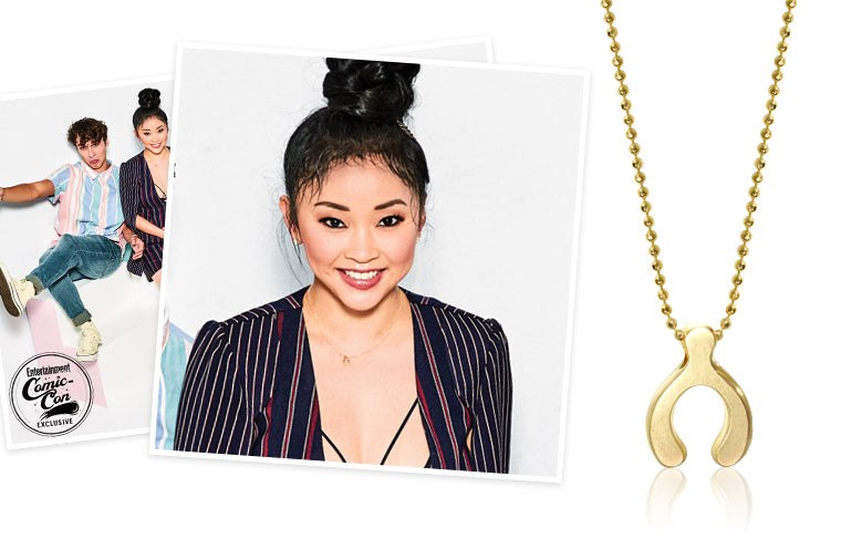 Lana Condor at San Diego Comic Con wearing Alex Woo Little Luck Wishbone in 14K Yellow Gold