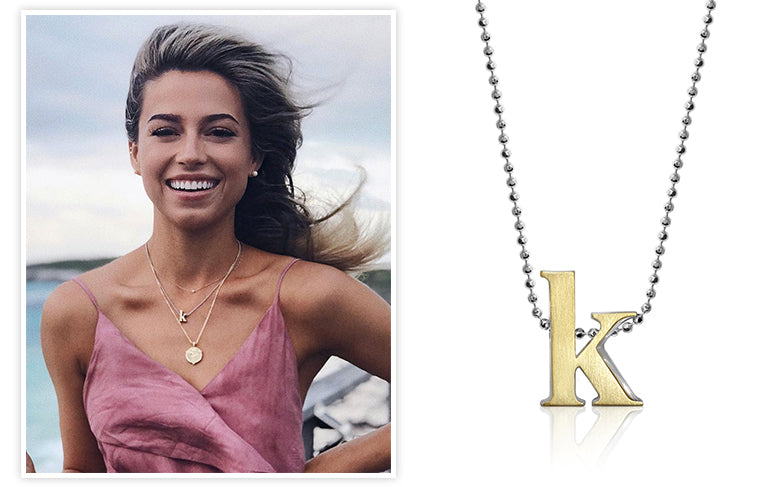 Bachelor and Bachelor in Paradise Star Kristina Schulman wearing Alex Woo Fusion Little Letter K in 18K Yellow Gold and Sterling Silver