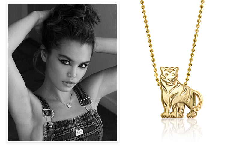 Paris Berelc wearing Alex Woo Little Chinese Zodiac Signs Tiger in 14k Yellow Gold