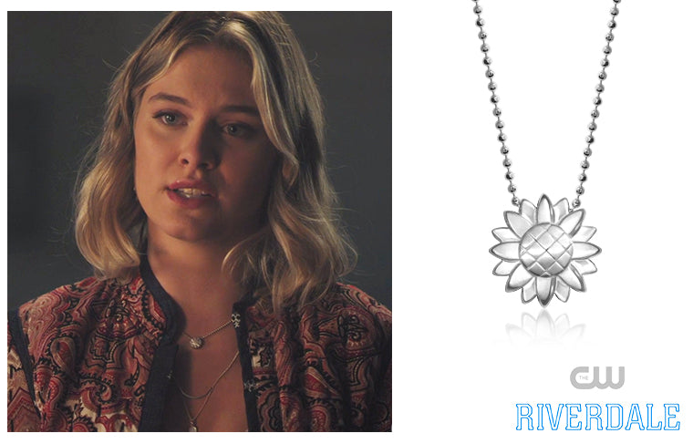 The CW's Riverdale actress, Tiera Skovbye, wore our Sterling Silver Seasons Sunflower in Season 3,  Episode 9, No Exit!