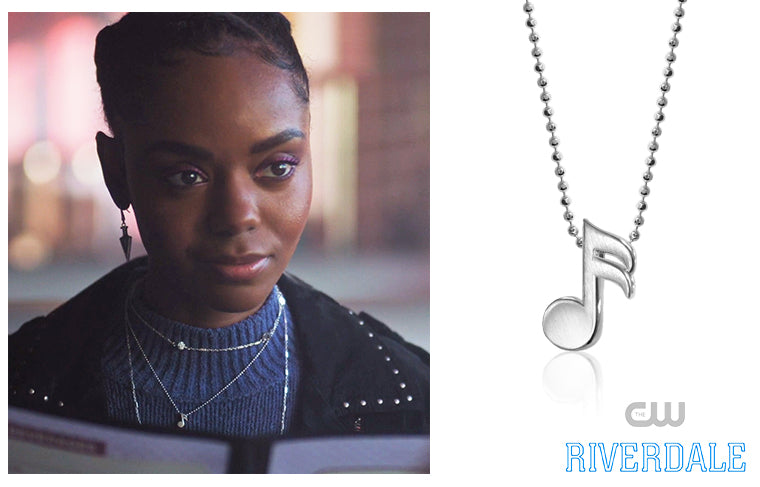 Ashleigh Murray as Josie on CW's Riverdale wearing Alex Woo Rock Star Single Note 2 in Sterling Silver