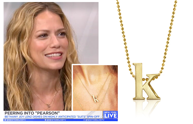 Bethany Joy Lenz, Actress of Suits Spinoff Pearson, wearing Alex Woo Little Letter K