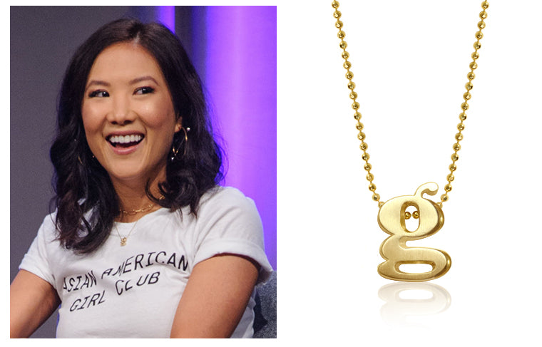 Ally Maki at D23 wearing Alex Woo Little Letter G