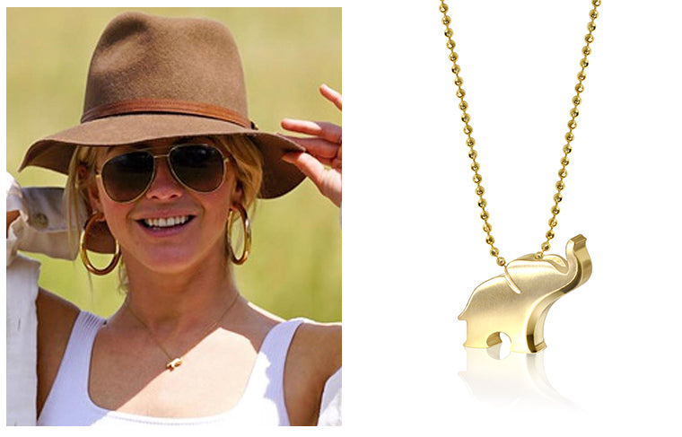 Actress Julianne Hough wearing Alex Woo Little Luck Elephant while on a safari holiday