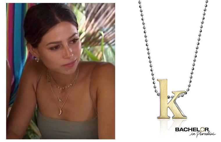 Bachelor in Paradise, Kristina Schulman wearing Alex Woo Little Letter K