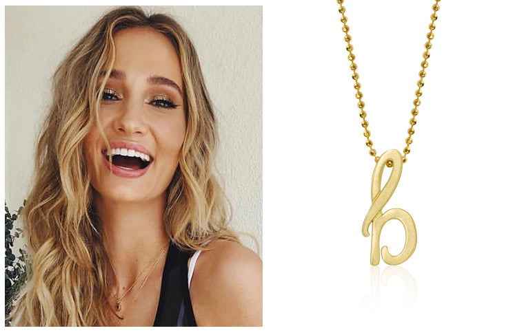 Brianna Barnes wearing Alex Woo Little Autograph Letter B in 14k Yellow Gold