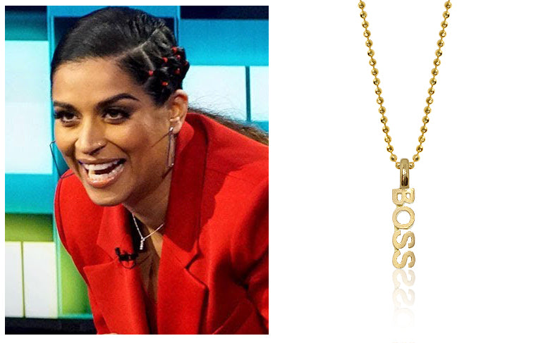 Lilly Singh wearing our Alex Woo Mini X BOSS in 14kt Yellow Gold