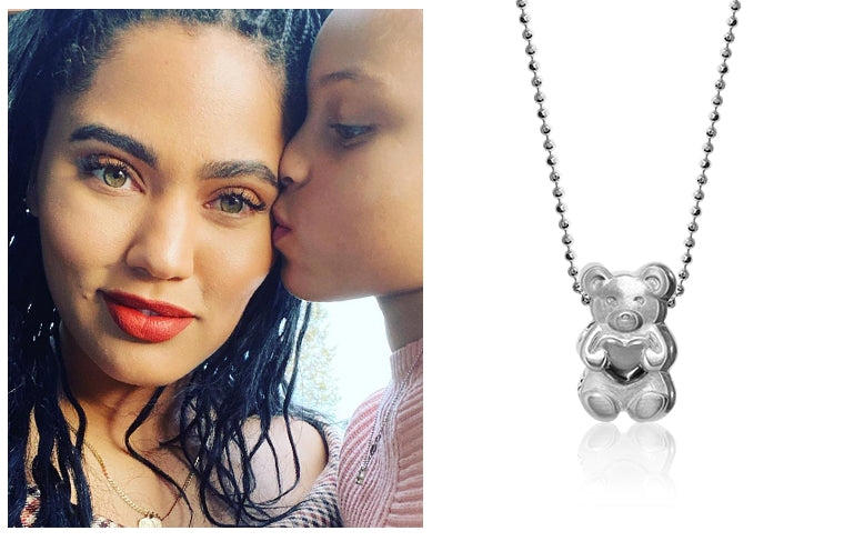 Ayesha Curry and Daughter Riley wearing Alex Woo Sterling Silver Sugarfina Champagne Gummy Bear