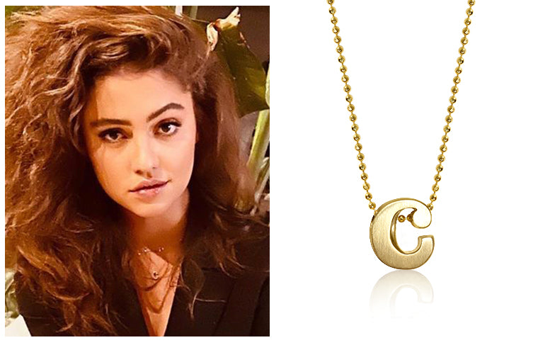Clara Wilsey wearing Alex Woo Little Letter C in 14kt Yellow Gold