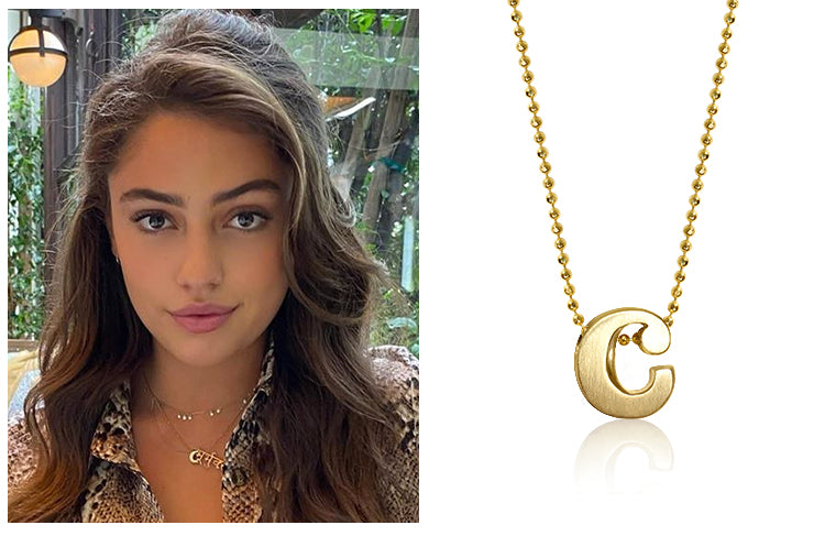 As Seen On Actress Clara Wilsey wearing Alex Woo Little Letter C in 14kt Yellow Gold