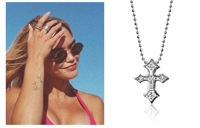 Paris Berelc wearing Alex Woo Rock Star Cross in 14kt White Gold with Diamonds