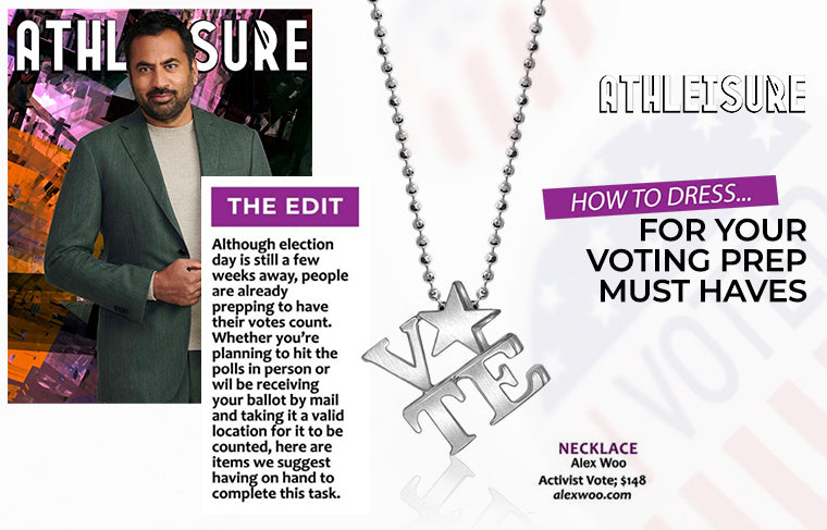 Activist VOTE in Sterling Silver As Seen In Athleisure Magazine October Issue