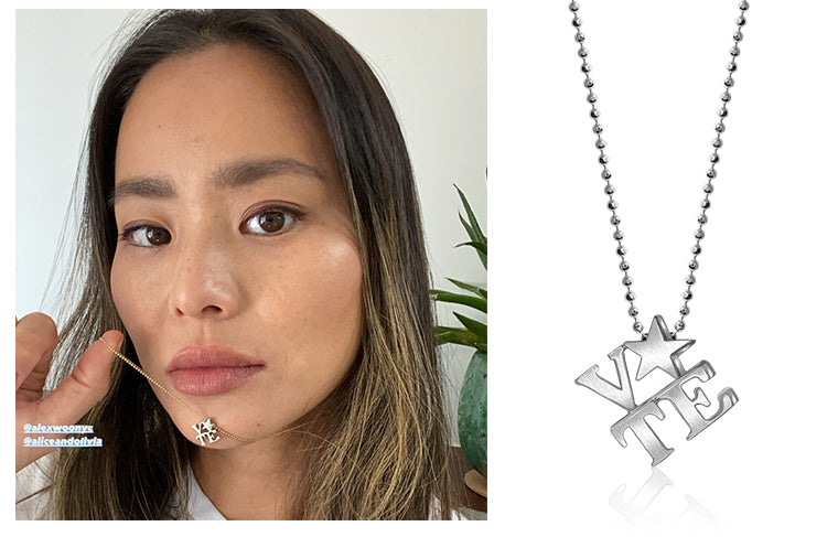 Jamie Chung wearing Alex Woo Little Activist VOTE in Sterling Silver