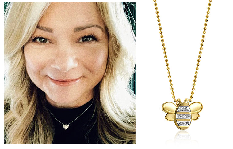 Valerie Bertinelli wearing Alex Woo Little Seasons Bee in 14kt Yellow Gold & Diamonds