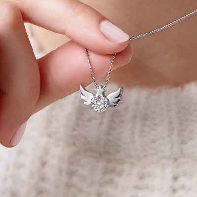 14k White Gold & Diamonds Rock Star Heart with Wings