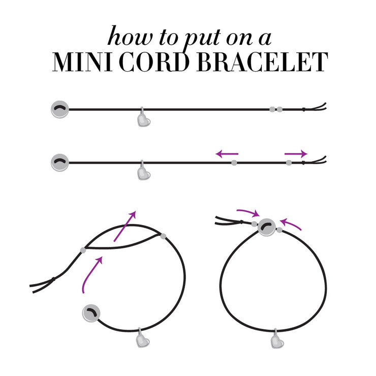 Custom Silver Mini Addition Shape Cord Bracelet