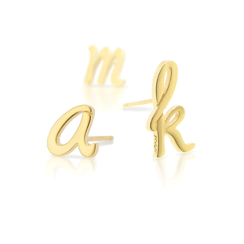 Custom 14kt Yellow Gold Autograph Earring