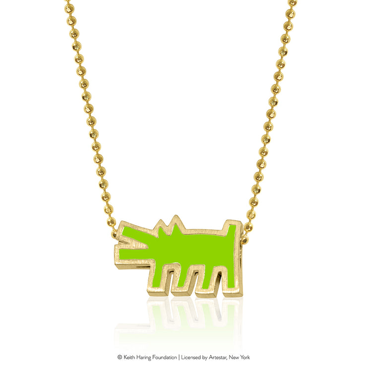 Keith Haring 14kt Yellow Gold Barking Dog