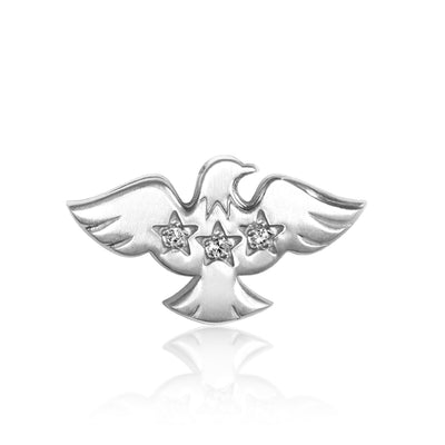 14k White Gold & Diamonds Activist Eagle