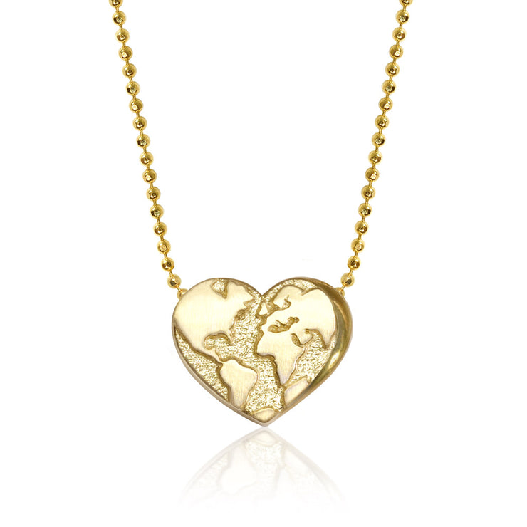 14k Yellow Gold Activist Heart Globe