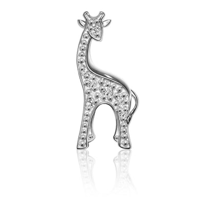14k White Gold & Diamonds Animals Giraffe