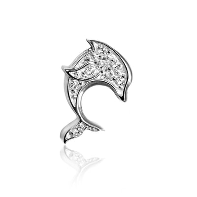 14k White Gold & Diamond Cities Dolphin