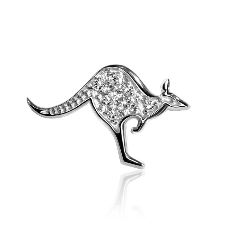 14k White Gold & Diamond Cities Kangaroo