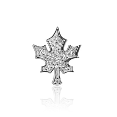 14k White Gold & Diamond Cities Maple Leaf