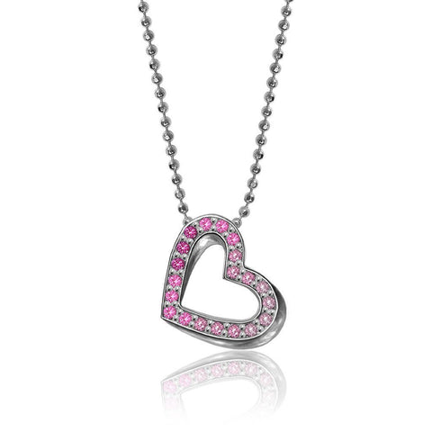 Pink Sapphires Crystals Elements Heart Pendant Charm Necklace
