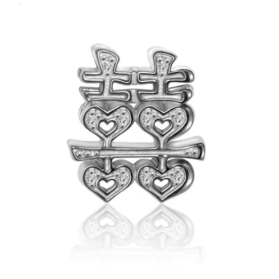 "14k White Gold & Diamond Faith Chinese Character ""Double Happiness"""