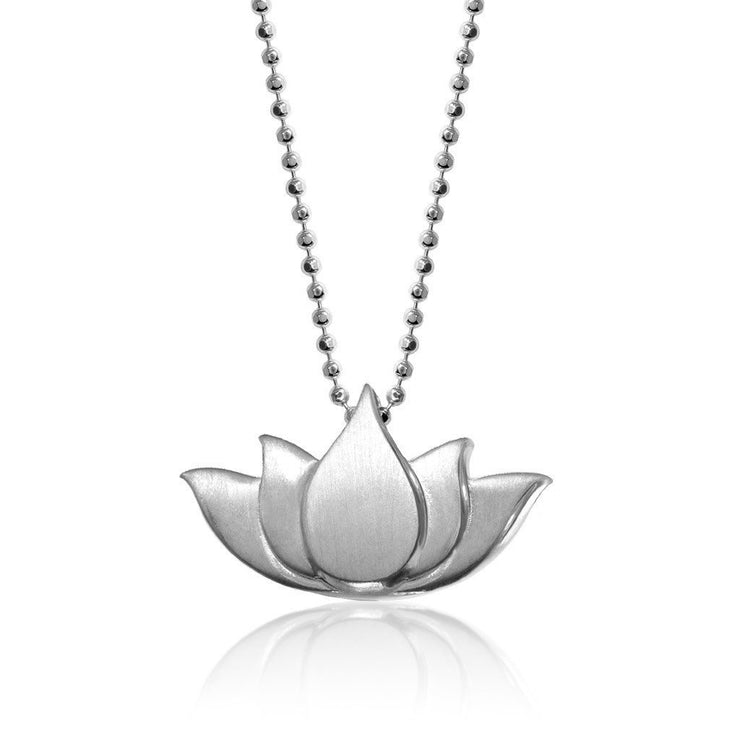 Sterling Silver Little Faith Lotus Charm Pendant Necklace