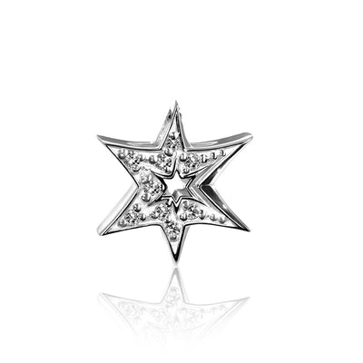 14k White Gold & Diamonds Faith Sunburst Star