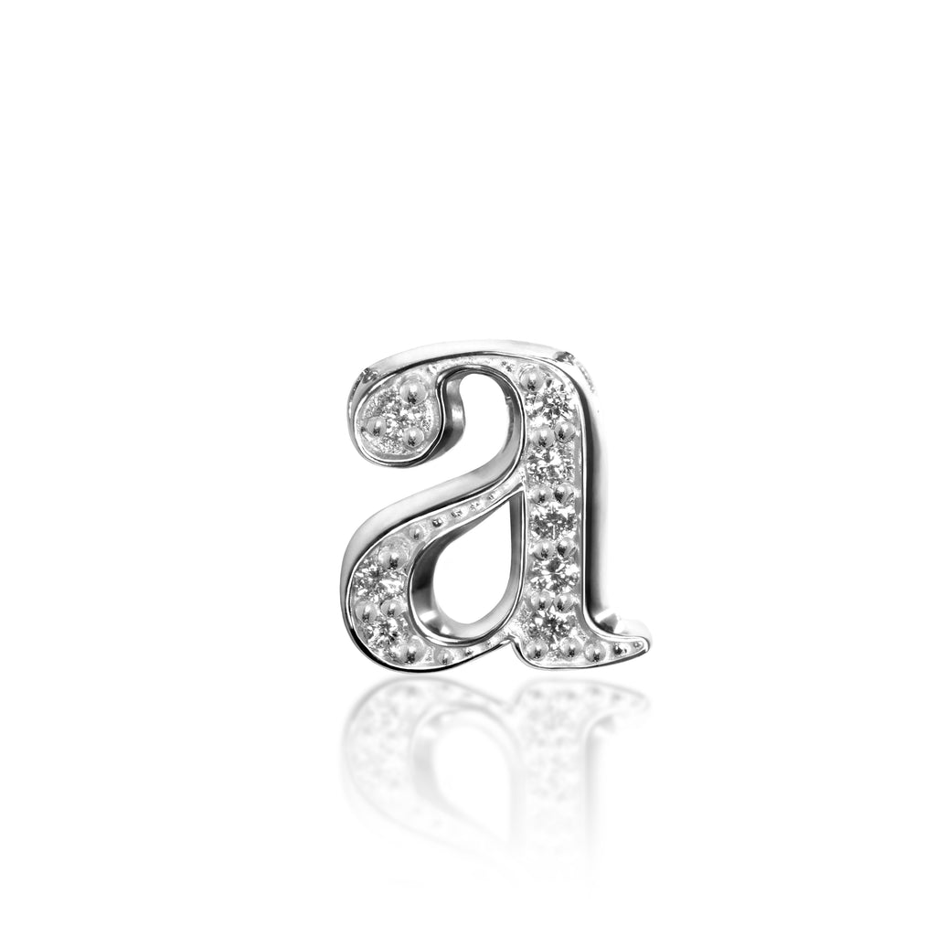 Sterling Silver Diamond Initial Charm Letter p Lower Case Hand Stamped Pendant with 20 Sterling Silver Bead Chain