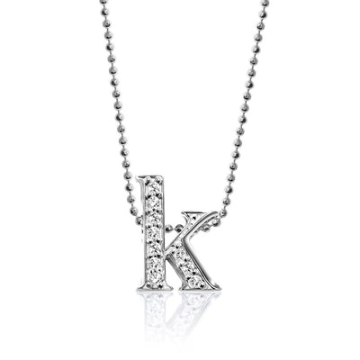 14k White Gold & Diamond Letter K