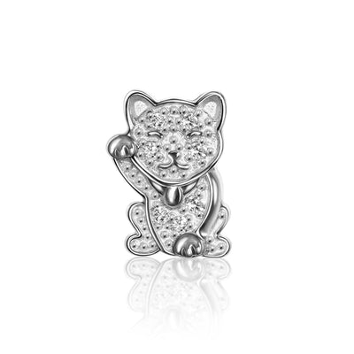 14k White Gold & Diamonds Luck Lucky Cat