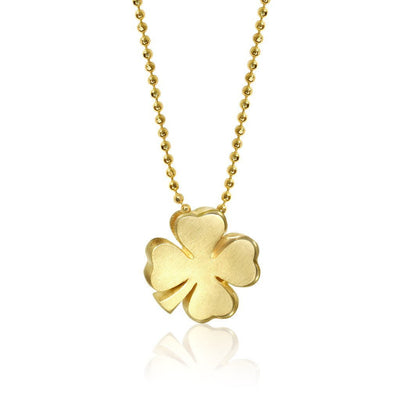 Gold Lucky Luck Four Leaf Clover Shamrock Pendant Necklace