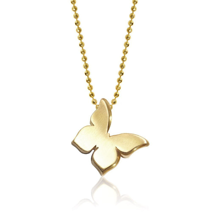 Gold Little Princess Butterfly Charm Pendant Necklace