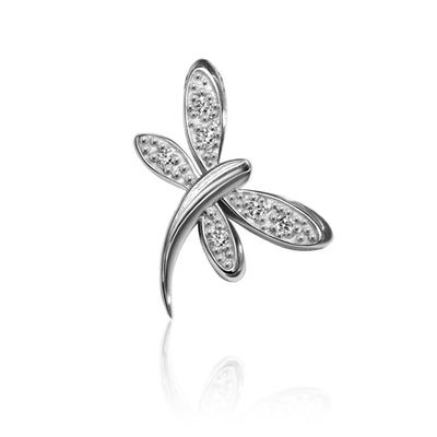 14k White Gold & Diamonds Princess Dragonfly