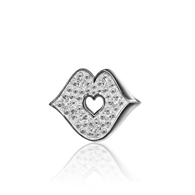 14k White Gold & Diamonds Princess Kiss
