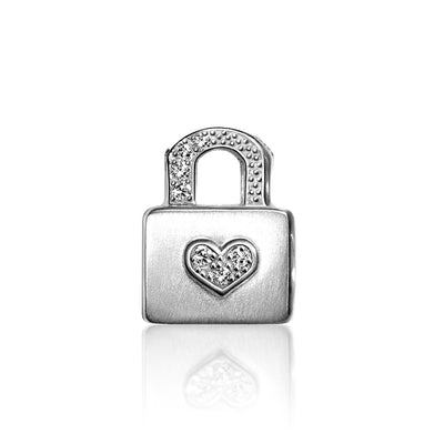 14k White Gold & Diamonds Princess Lock
