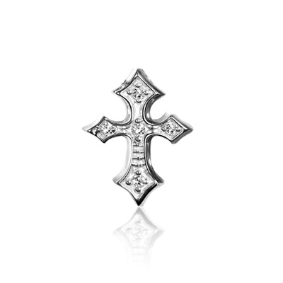 14k White Gold & Diamonds Rock Star Cross