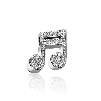 14k White Gold & Diamonds Rock Star Double Note 2