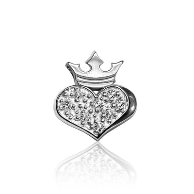 14k White Gold & Diamonds Rock Star Heart and Crown