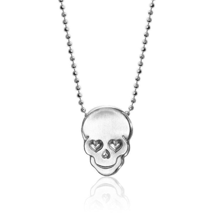 Sterling Silver Rock Star Skull Pendant Necklace