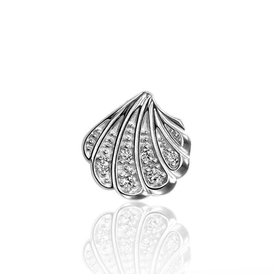 14k White Gold & Diamond Seasons Shell