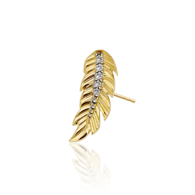 Mini X Feather Single Stud Earring